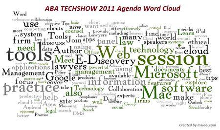 InsideLegal's ABA TECHSHOW 2011 Agenda Word Cloud