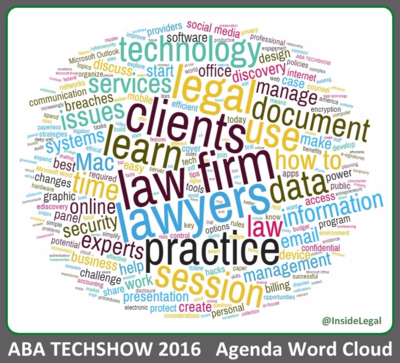 InsideLegal's ABA TECHSHOW Agenda Word Cloud