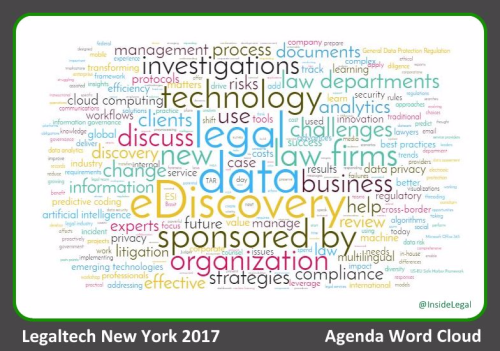 Legaltech NY 2017 Agenda Word Cloud