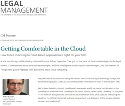 "Legal Management: ""Getting Comfortable in Cloud"""